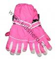 Dětské zimní, lyžařské rukavice - prstové - růžové - rozepínací