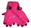 Dětské zimní, lyžařské rukavice - prstové - růžové