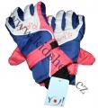 Dětské zimní, lyžařské rukavice-prstové-modro-oranžovo-bílé