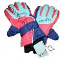Dětské zimní, lyžařské rukavice-prstové-modro-oranžovo-tyrkysové