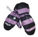 Dětské zimní rukavice - palčáky- černo-fialové-hvězdy