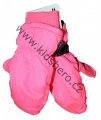 Dětské zimní rukavice - palčáky- fosfor.růžové