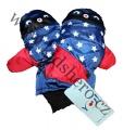Dětské zimní rukavice - palčáky- modro-červené-hvězdy