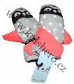 Dětské zimní rukavice - palčáky- šedo-oranžové-hvězdy