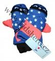 Dětské zimní rukavice - palčáky- modro-oranžové-hvězdy