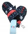 Dětské zimní rukavice - palčáky- tm.modro-oranžové s očima