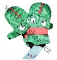 Dětské zimní rukavice - palčáky- zeleno-oranžové s očima