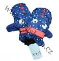 Dětské zimní rukavice - palčáky- sv.modro-oranžové s očima