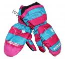 Dětské zimní rukavice - palčáky-růžovo-modré-hvězda