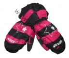 Dětské zimní rukavice - palčáky- černo-růžové-hvězdy