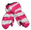 Dětské zimní rukavice - palčáky- růžovo-bílé - hvězdy