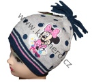 Dětská čepice s Minnie - puntík - modro-šedá