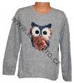 Měnící svetr se sovou - sv.šedý