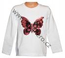 Měnící mikina s motýlem - bílá - malá
