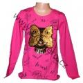 Měnící tričko, tunika - dl.rukáv - tm.růžové-malé-sova