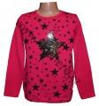 Měnící tričko, tunika - dl.rukáv - tm.růžové - hvězda - malé