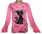 Měnící tričko, tunika - dl.rukáv - sv.růžové-kočka-malé