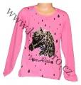 Měnící tričko, tunika dl.rukáv - sv.růžové - malé - kůň 2