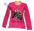 Měnící tričko, tunika dl.rukáv - tm.růžové - malé - kůň 2