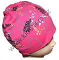 Dětská bavlněná čepice - love - růžová