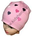 Dětská bavlněná čepice - srdce - růžová