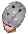Dětská bavlněná čepice - srdce - šedo-růžová