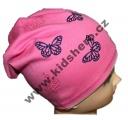 Dětská bavlněná čepice se spadlým vrškem - motýl - sv.růžová