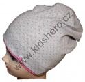 Dětská bavlněná čepice se spadlým vrškem - puntík - sv.šedo-růžová