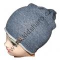 Dětská bavlněná čepice se spadlým vrškem - modrá