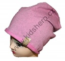 Dětská bavlněná čepice se spadlým vrškem - růžová