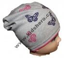 Dětská bavlněná čepice se spadlým vrškem - motýl - šedá