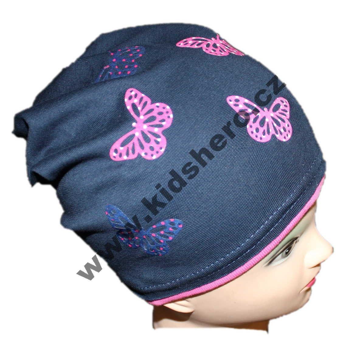 dětská bavlněná čepice se spadlým vrškem, dívčí čepice, jarní čepice, chlapecká čepice
