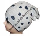 Dětská bavlněná čepice se spadlým vrškem - srdce - šedo-modrá
