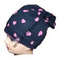 Dětská bavlněná čepice se spadlým vrškem - srdce - modro-růžová