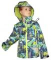 Jarní softshellová bunda - zeleno-modrá-fosforový zip