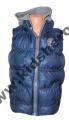 Dětská prošívaná vesta - tmavě modrá-šedý zip