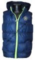 Dětská prošívaná vesta - tmavě modrá-fosforový zip