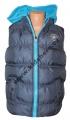 Dětská prošívaná vesta - šedá-tyrkysový zip