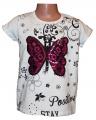 Měnící tričko, tunika kr.rukáv -  Motýl 2 - malé - bílé