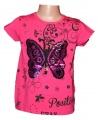 Měnící tričko, tunika kr.rukáv -  Motýl 2 - malé - tm.růžové
