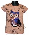 Měnící tričko, tunika kr.rukáv -  SOVA - malé - lososové
