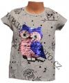 Měnící tričko, tunika kr.rukáv -  SOVA - malé - šedé