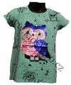 Měnící tričko, tunika kr.rukáv - sova -zelené - velké