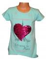 Měnící tričko, tunika kr.rukáv - srdce - zelené
