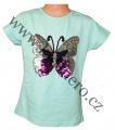 Měnící tričko, tunika kr.rukáv -  Motýl - zelené