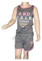 Dívčí set SEZON - tílko+kraťasy - sv.šedo-růžový