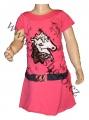 Měnící bavlněné šaty - tunika s koněm - tm.růžová