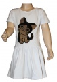 Měnící bavlněné šaty kr.rukáv - kočka - bílé