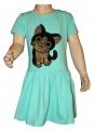 Měnící bavlněné šaty kr.rukáv - kočka - zelené