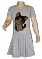 Měnící bavlněné šaty kr.rukáv - kočka - šedé